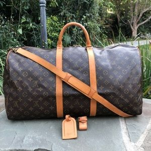 💯LV Keepall Bandouliere 55 W/STRAP & ACCESSORIES